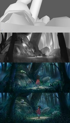 The journey continues. Breakdown: Initially I had a random character in Maya and started looking for interesting compositions inside the scene, snapped a screenshot then added values, then a quick color comp and finally detailing and polishing. Digital Painting Tutorials, Digital Art Tutorial, Art Tutorials, Digital Paintings, Painting Process, Process Art, Painting Techniques, Environment Painting, Environment Concept Art