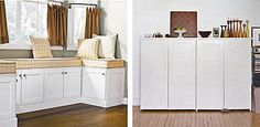living room cabinets Using Kitchen Cabinets in Other Rooms. Repurposing is such a great idea!