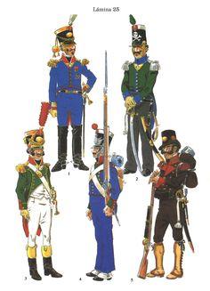 Regimientos simbólicos creados durante la Guerra de la Independencia: Coronel del Regimiento Fernando VII, Capitán del Regimiento Muerte, Sargento del Regimiento Victoria, Fusilero del Regimiento Santa Fe y Teniente del Regimiento Patria