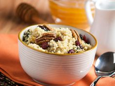 Did you know Silk® has a ton of tasty recipes, like this one for Cinnamon Breakfast Quinoa Quinoa Breakfast, Breakfast Bowls, Breakfast Recipes, Clean Eating Recipes, Healthy Dinner Recipes, Cooking Recipes, Healthy Eating, Healthy Foods, Dairy Free Recipes