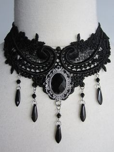 Gothic Dark Victorian Black Lace Necklace Marquise de by Ravennixe, $43.00