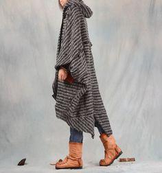 Nuevo 15 de mujer personalidad irregular con una capucha prendas de vestir exteriores floja en Lana y Mezcla de Moda y Complementos Mujer en AliExpress.com | Alibaba Group