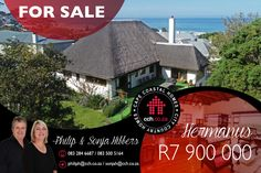 EXCLUSIVE MANDATE This classic thatched family home in popular Voëlklip is very well located on a large leafy corner block, boasting indigenous flora, bird life and amazing sea and mountain views. The main house on the upper floor has 3 spacious bedrooms with wooden floors and oakwood cupboards. #CCH #voelklip #hermanus #whaleroute 6 Bedroom House, Master Bedroom, Maine House, Architect Design, Wooden Flooring, Cupboards, Very Well, Mountain View, Floors
