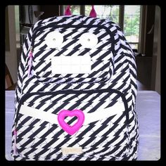 BETSEY JOHNSON backpack LBROBO So cute. BJ Backpack. Black and white quilted hearts cotton with gold hardware and bright pink faux leather details. Backpack straps are cute with BJ signature on them. Good size backpack can hold folders. Inside has black and white lining. See size section. Any questions let me know. Brand new with tags. Betsey Johnson Bags Backpacks