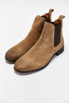 $220, Tan Suede Chelsea Boots: UO Shoe The Bear Suede Chelsea Boot. Sold by Urban Outfitters. Click for more info: http://lookastic.com/men/shop_items/199357/redirect