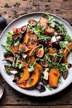 Roasted Squash, Caramelized Fig, and Feta Salad: Light, healthy, simple + delicious, perfect fall side dish or light lunch. @halfbakedharvest.com
