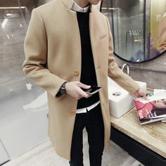 2017 spring autumn winter fashion new men leisure slim trench coat / Men's long sleeve stand collar pure color wool dust coat