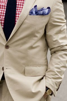 khaki suit, red gingham button up, black skinny tie