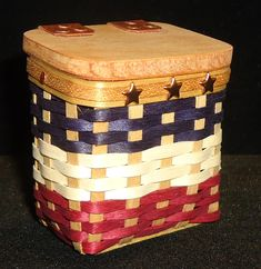"""Our 2019 Miniature Independence Day Mailbox is made of Maple weave and upsplints colored in Navy, White, and and  Antique Brown and has a Wood lid with genuine leather hinges and a trio of stars in red, bronze or copper  2.25"""" x 2"""" x 1.5""""  $30.00 Mailbox, Independence Day, Weave, Baskets, Copper, Miniatures, Bronze, Stars, Antiques"""