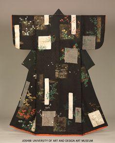 色紙短冊草花模様小袖 kosode kimono with shikishi and tanzaku poem slips - edo period japan Japanese Quilts, Japanese Textiles, Japanese Kimono, Japanese Art, Kimono Fabric, Silk Kimono, Kimono Style, Geisha, Oriental Dress