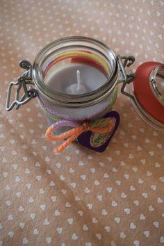 Candela profumata senza cera in barattolino decorato