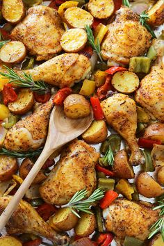 Rosemary Roasted Chicken with Bell Peppers and Potatoes