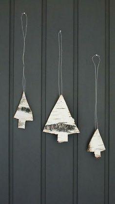 Birch bark tree ornaments
