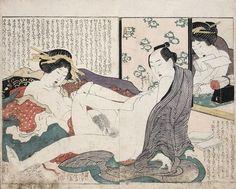 Excellent shunga design from Hokusai's series Manpuku wagojin (Gods of Intercourse) from c.1821. Click HERE for more Hokusai Shunga!