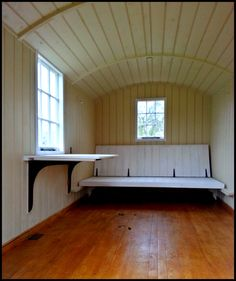 Shepherds hut interior - Bespoke fold away table, and sofa-to-bed wooden base. Living In A Shed, Tiny House Living, Grandma's House, Fold Away Table, Trailers, Camping Pod, Bedroom Sitting Room, Murphy Bed Plans, Shepherds Hut