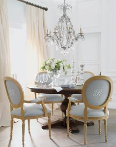 Monogrammed chairs, neutrals and soft blues, chandelier ... Pretty