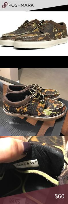VANS ▪️ men's horween camo shoes Special edition!! Camo leather horween vans! Size 11.5 never been worn! Make me an offer! Vans Shoes