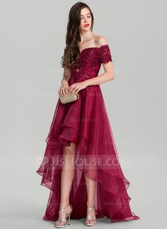 A-Line/Princess Off-the-Shoulder Asymmetrical Organza Evening Dress With Sequins - Evening Dresses - DressFirst Dresses For Teens, Cute Dresses, Casual Dresses, Fashion Dresses, Formal Dresses, Luxury Wedding Dress, Wedding Party Dresses, Bridesmaid Dresses, Dress Dior