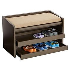 My new fav!  I'd love to build this out of palette wood or something.  Mercer Storage Bench - $249.00