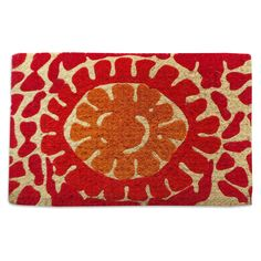 First Impression Red Flower Outdoor Doormat - The First Impression Red Flower Outdoor Doormat adds a pop of color to your doorstep. This thick coir fiber doormat is accented with bold red and orange...