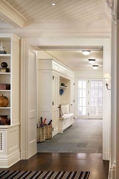 Hallway with flush light, Dash and Albert Rugs Woven Birmingham Black Area Rug, French doors, travertine tile floors