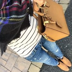 IG @mrscasual <click through to shop this look> striped tee. Zara plaid blanket scarf. Distressed toothpick jeans. Ankle boots. Tory Burch square Robinson tote.