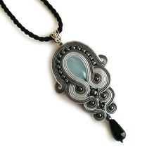 Statement Pendant - Soutache pendant - Mother gift - Wife gift - Anniversary - Birthday gift - Gray black pendant - Gemstone necklace - Gift