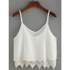 White Lace Crochet Scalloped Hem Cami Top ($11) ❤ liked on Polyvore featuring tops, white, spaghetti strap tank tops, white crop tank, crop top, crop tank tops and white lace top
