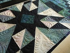 Another shot of the Asteria BOM quilt I finished quilting for a customer. Quilted by Starlitquilts.com