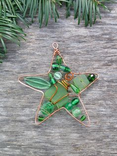 Green Christmas Ornament Wire Wrapped Star Ornament