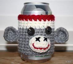 Sock Monkey Pop Can Sleeve Water Bottle Cozy