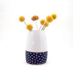 Ceramic Teal Blue Scoop Pod Vase, Small by lovebugkiko on Etsy