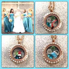 A great bridesmaids gift. personalizing a locket to match the wedding colors and putting something in for each friends personality is so awesome. Wedding Story, Dream Wedding, Blue Wedding, South Hill Designs, Groom Attire, Bridesmaid Gifts, Bridesmaids, Maid Of Honor, Mother Of The Bride