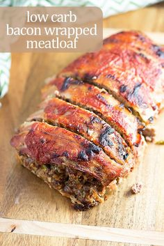 This low carb meatloaf is super moist and juicy! Bacon wrapped meatloaf is the perfect comfort food! #lowcarb #keto