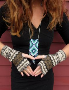 Earthy Boyfriend Pattern Fair Isle Print Recycled Sweater Artist Fingerless Gloves Gifts For Her by MountainGirlClothing. $15.00, via Etsy.