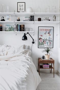 To Add Storage Space To A Small Bedroom, Install Shelves Above The Bed To  Display Collectibles Or Art Or Hold Books. #SmallBedrooms