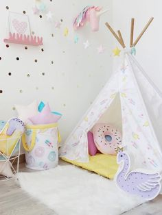 Kids Pastel Tepee with Donuts Cupcakes and Ice Creams to buy on Etsy - Happy Spaces workshop - ipi with poles, r, Teepee for girl, Kids indoor outdoor playtent, Wigwam, kids teepee tent,pastel girls room ideas