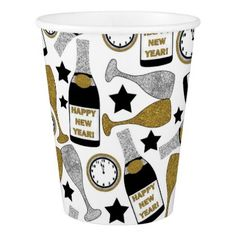 Fun New Years Eve party pattern paper cup - diy cyo customize create your own personalize