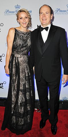 November 1, 2011 Princess Charlene of Monaco attended the Princess Grace Awards Gala in New York City wearing a beaded black Christian Dior gown.