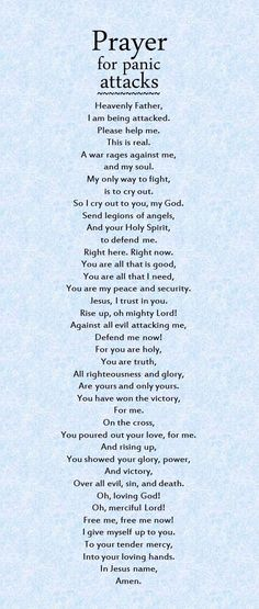 A powerful prayer for panic attacks.