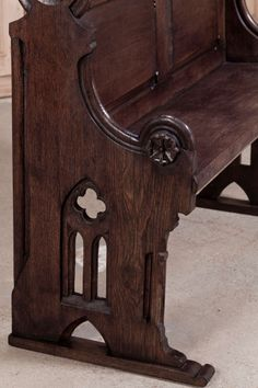 Antique French Gothic Church Pew | From a unique collection of antique and modern benches at http://www.1stdibs.com/furniture/seating/benches/
