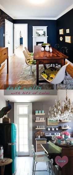 Dark grey or navy walls with farm table and modern chairs in dinning room