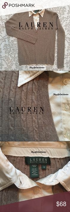 Ralph Lauren silk & cashmere cable knit sweater Such a beautiful classic Ralph Lauren cashmere/silk sweater in soft heathered taupe/tan. Excellent condition, smoke free home. Has vneck with attached cream silk button collar underneath. Size medium could also accommodate small depending on how you like your sweaters to fit. This sweater looks great with denim or paired with a skirt or dress pants. If this is your first time shopping my closet, please read my 'about me and my closet' listing…