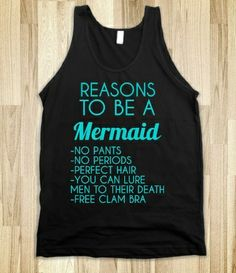Reasons To Be A Mermaid Tank Top from Glamfoxx Shirts