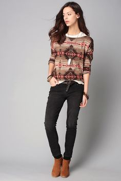127183e0116 Pull kaki motifs navajo Denim and Supply by Ralph Lauren
