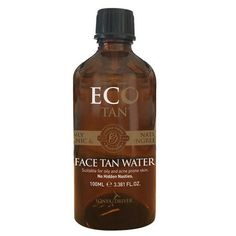 Eco Tan Organic Face Tan Water - an all natural gradual tanner for a natural sun kissed glow on your face! Anti-ageing and anti-acne, full of Vit C for an even and healthy complexion.