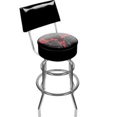 Trademark Global Hunt Skull Padded Swivel Bar Stool with Back by Trademark Global. $133.60. .25 inch Vinyl Beading Marrying the Top and Side for Added Strength. Back Rest Dimensions: 2 x 16.75 x 8.5 inches. Reverse Printed on Commercial Plastic to Protect Logo from Wear and Luxurious Foam Padding. Seat Dimensions: 14 x 14 x 5 inches. Overall Dimensions: 20 x 20 x 41.75 inches. From the Manufacturer                This officially licensed chrome bar stool with back will...