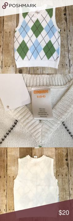 """Gymboree Blue Argyle Sweater Vest NWT Size S 5/6 • New with tags  • Pit to pit 14""""  • Length from shoulder to hem 18 Gymboree Jackets & Coats Vests"""