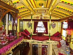 Traditional English horse-drawn Showman's Wagon Interior: By Anguskirk