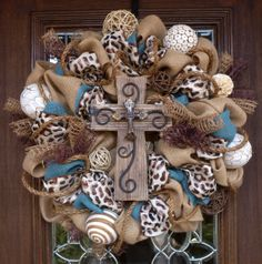 Burlap Wreath with BROWN LEOPARD Ribbon and CROSS by decoglitz